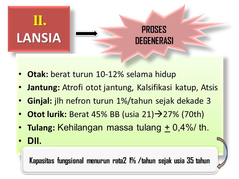 II. LANSIA II. LANSIA Otak: berat turun 10-12% selama hidup Jantung: Atrofi otot jantung, Kalsifikasi katup, Atsis Ginjal: jlh nefron turun 1%/tahun s