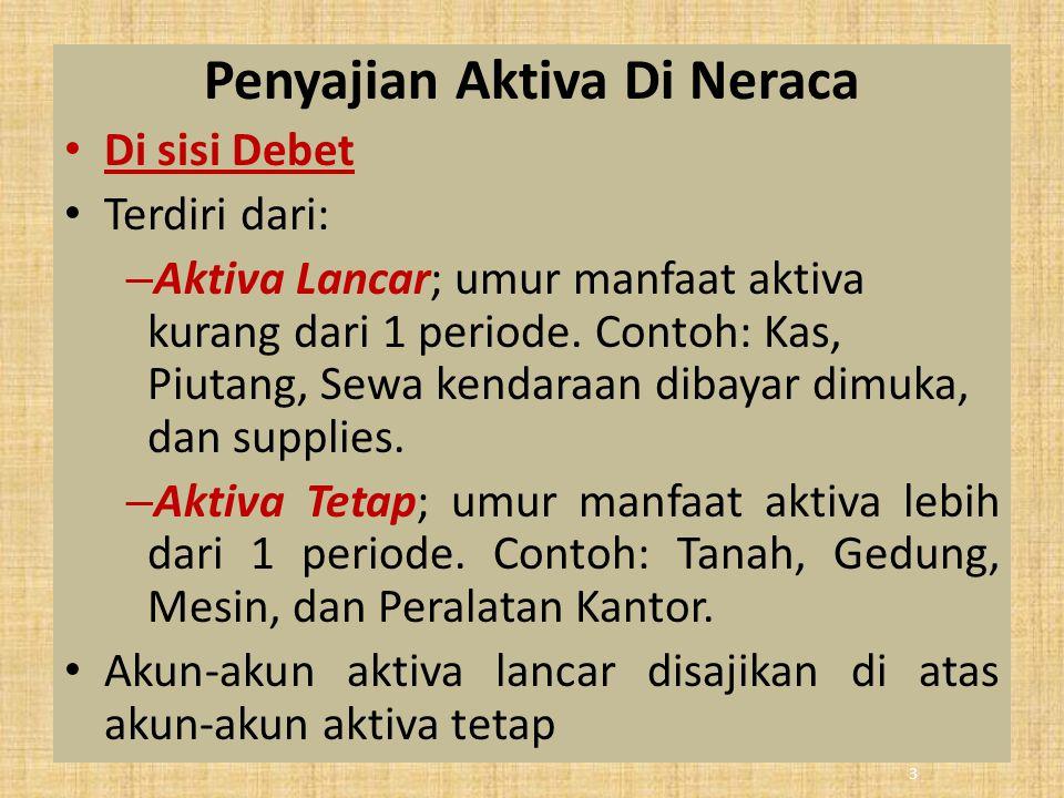 Penyajian Aktiva Di Neraca Di sisi Debet Terdiri dari: – Aktiva Lancar; umur manfaat aktiva kurang dari 1 periode. Contoh: Kas, Piutang, Sewa kendaraa