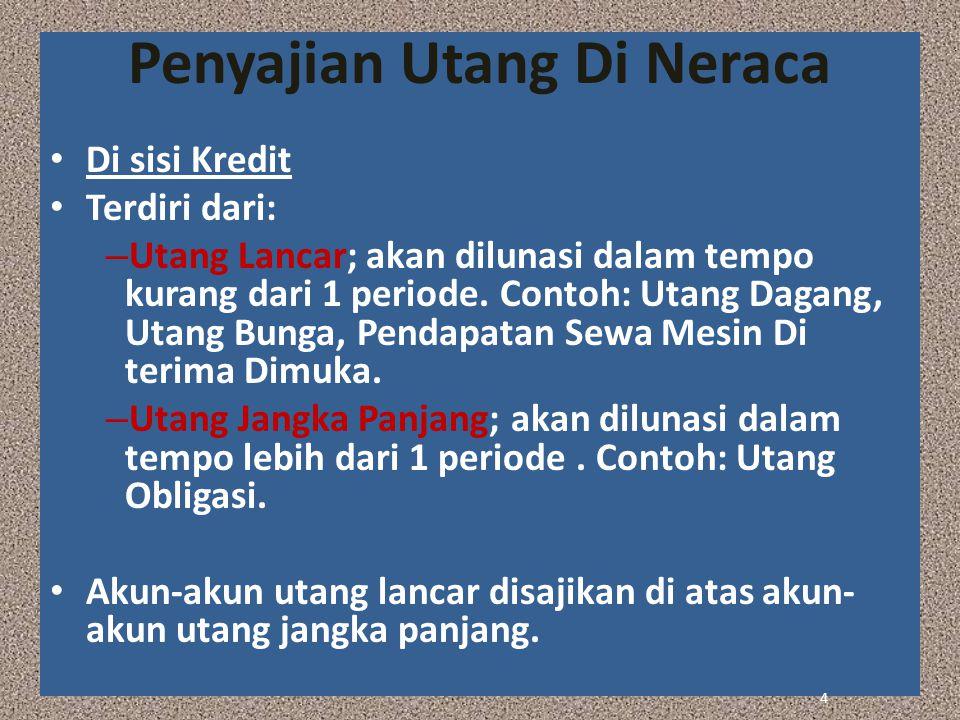 Penyajian Utang Di Neraca Di sisi Kredit Terdiri dari: – Utang Lancar; akan dilunasi dalam tempo kurang dari 1 periode. Contoh: Utang Dagang, Utang Bu
