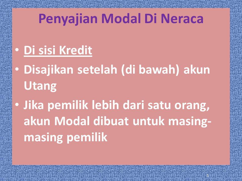 Penyajian Modal Di Neraca Di sisi Kredit Disajikan setelah (di bawah) akun Utang Jika pemilik lebih dari satu orang, akun Modal dibuat untuk masing- masing pemilik 5