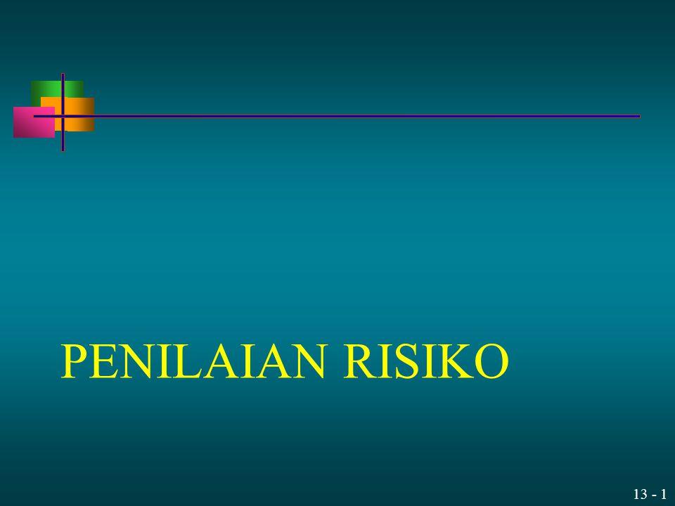 13 - 2 Agenda Mendalami IC dan (Penilaian) Risiko Pengantar Implementasi Penilaian Risiko: Identifikasi tujuan Identifikasi risiko (termasuk identifikasi sebab & dampak terjadinya risiko) Tidak termasuk merancang pengendalian (control)