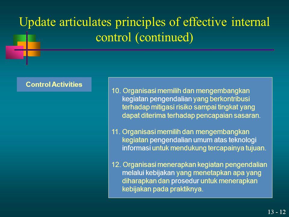 13 - 12 10. Organisasi memilih dan mengembangkan kegiatan pengendalian yang berkontribusi terhadap mitigasi risiko sampai tingkat yang dapat diterima
