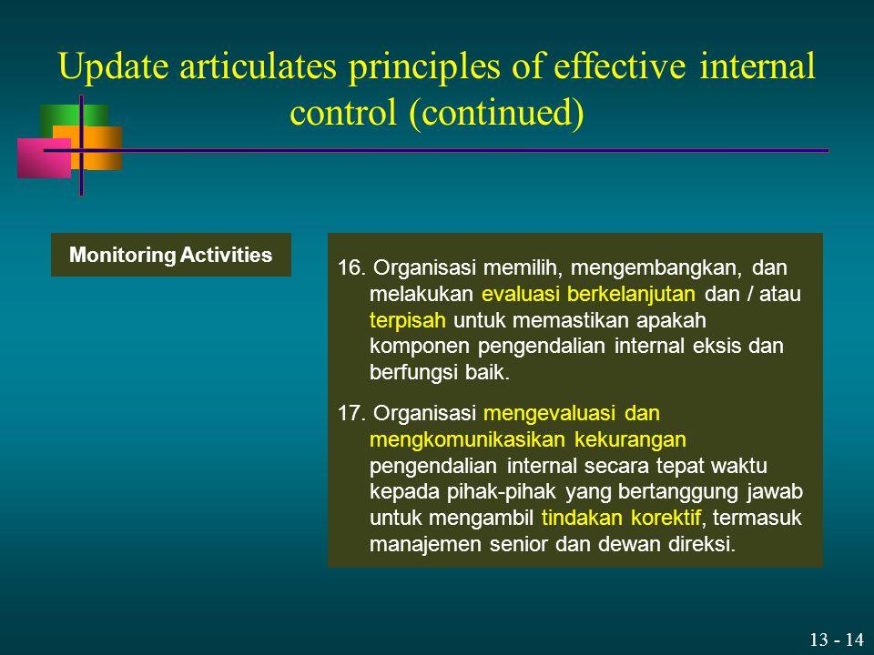 13 - 14 16. Organisasi memilih, mengembangkan, dan melakukan evaluasi berkelanjutan dan / atau terpisah untuk memastikan apakah komponen pengendalian