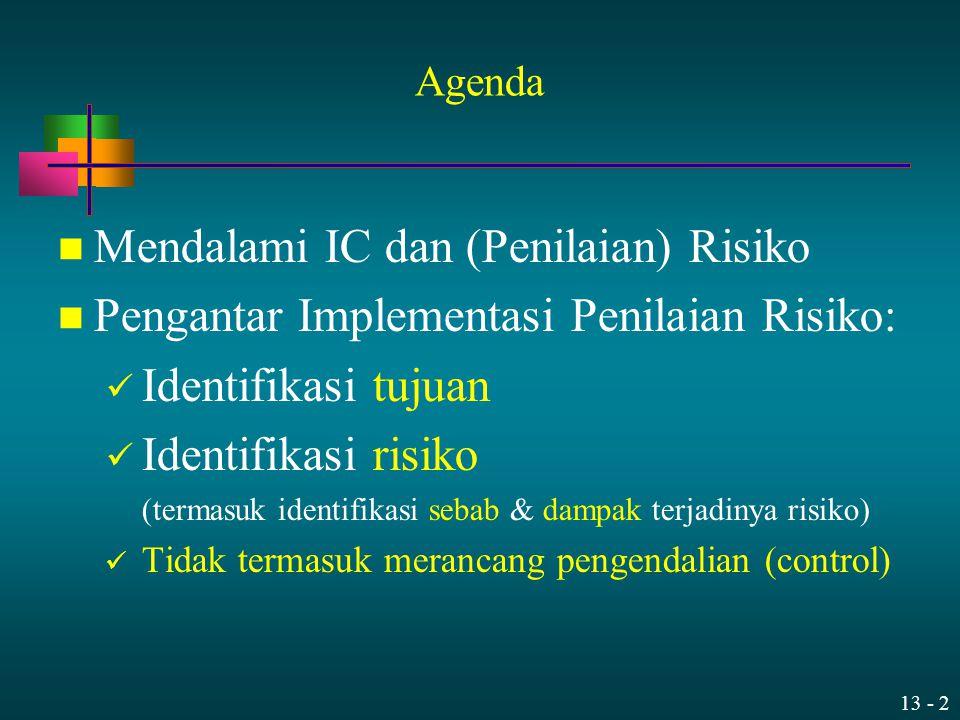 13 - 2 Agenda Mendalami IC dan (Penilaian) Risiko Pengantar Implementasi Penilaian Risiko: Identifikasi tujuan Identifikasi risiko (termasuk identifik