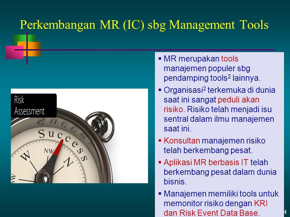13 - 24 Perkembangan MR (IC) sbg Management Tools  MR merupakan tools manajemen populer sbg pendamping tools 2 lainnya.  Organisasi 2 terkemuka di d
