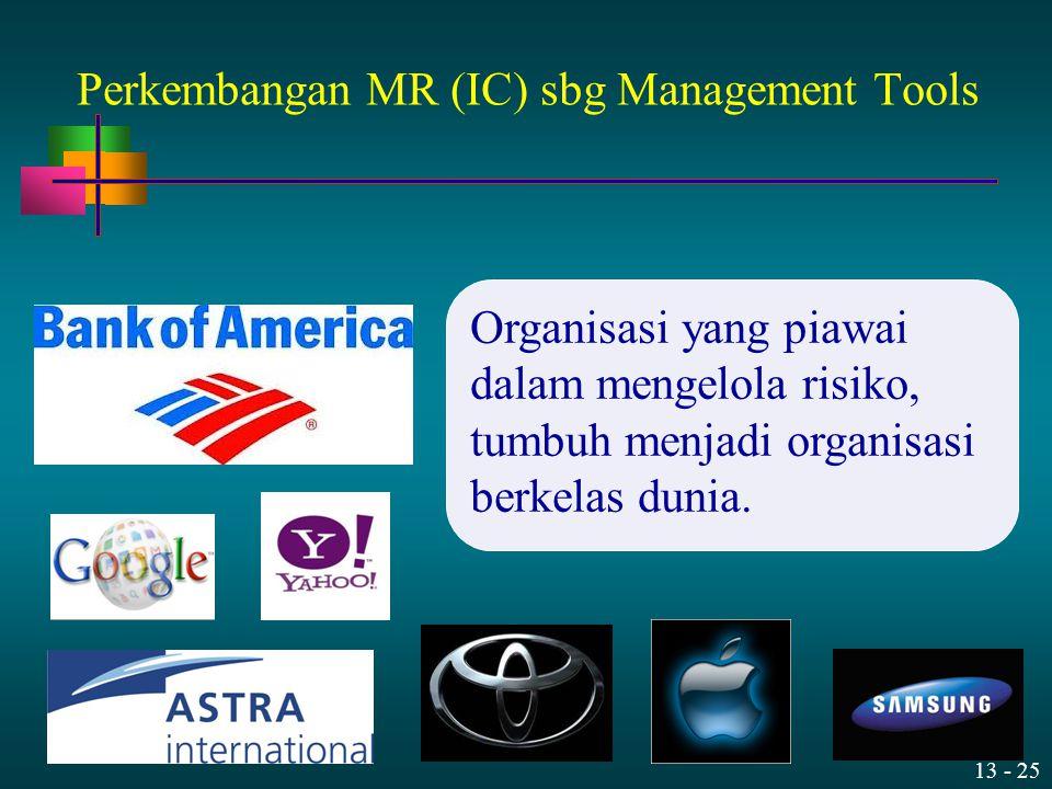13 - 25 Organisasi yang piawai dalam mengelola risiko, tumbuh menjadi organisasi berkelas dunia. Perkembangan MR (IC) sbg Management Tools