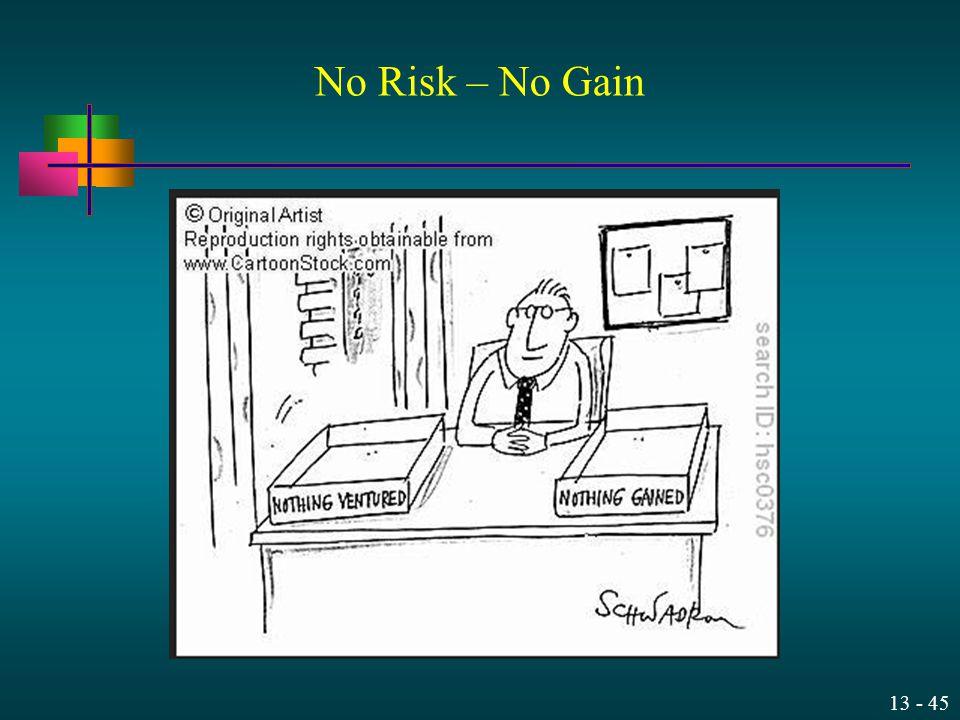 13 - 45 No Risk – No Gain