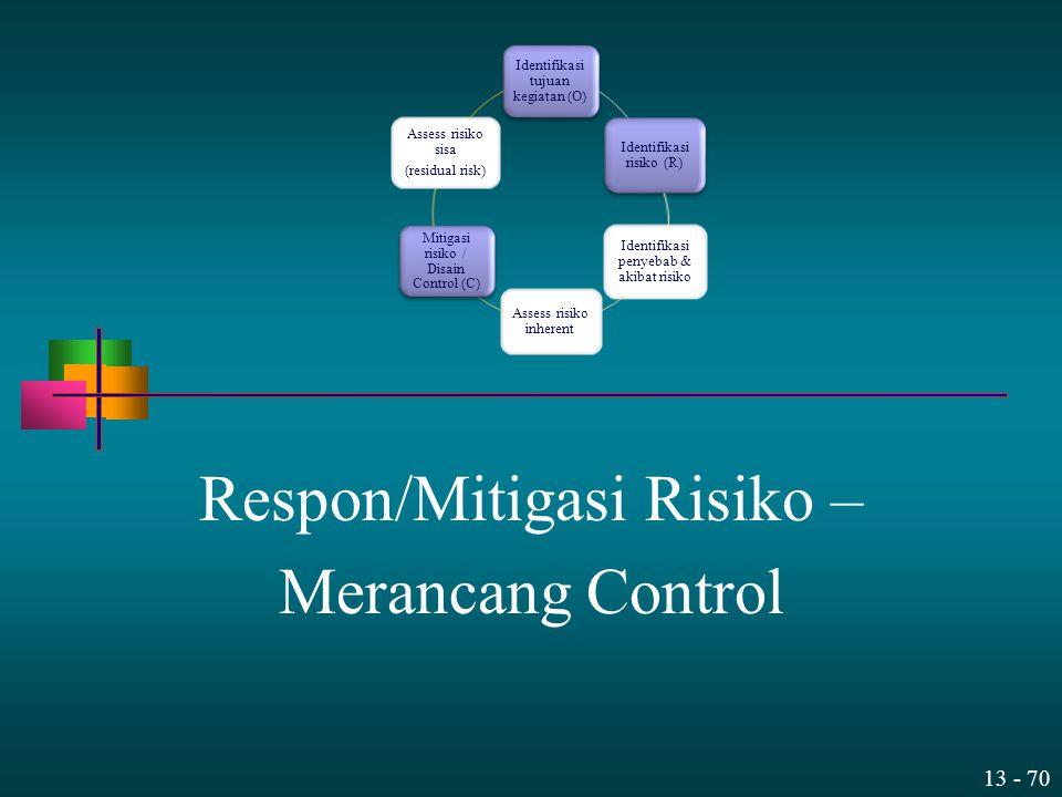 13 - 70 Respon/Mitigasi Risiko – Merancang Control Identifikasi tujuan kegiatan (O) Identifikasi risiko (R) Identifikasi penyebab & akibat risiko Asse