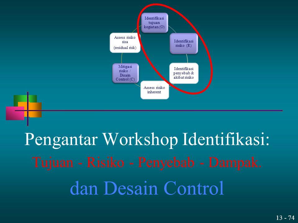 13 - 74 Pengantar Workshop Identifikasi: Tujuan - Risiko - Penyebab - Dampak. dan Desain Control Identifikasi tujuan kegiatan (O) Identifikasi risiko