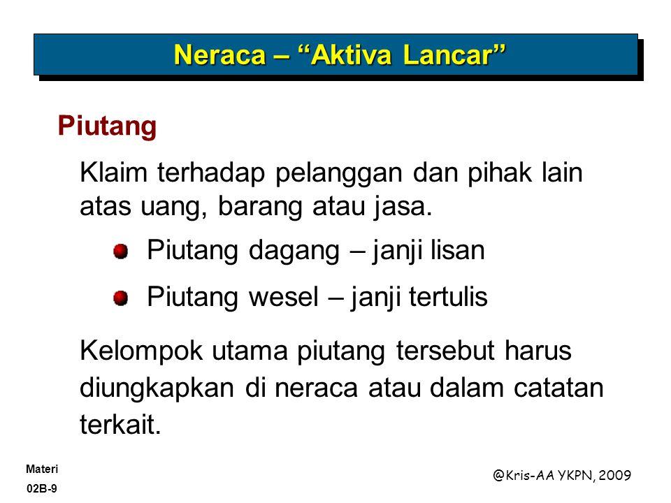 Materi 02B-9 @Kris-AA YKPN, 2009 Klaim terhadap pelanggan dan pihak lain atas uang, barang atau jasa.