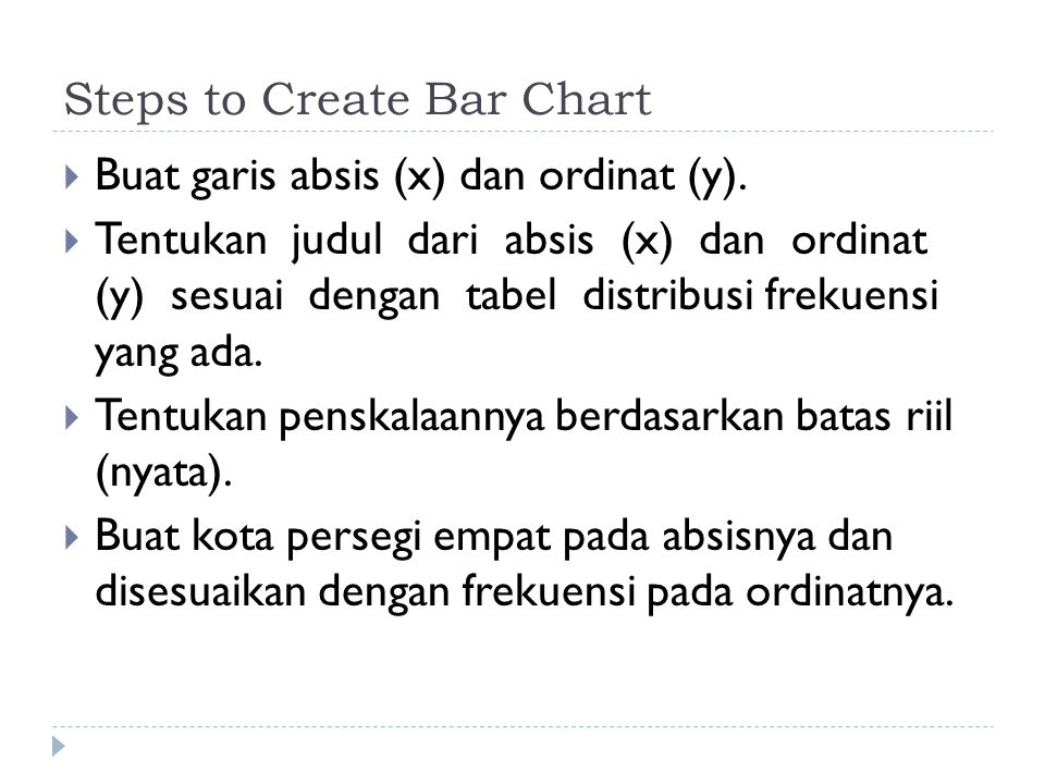 Steps to Create Bar Chart  Buat garis absis (x) dan ordinat (y).
