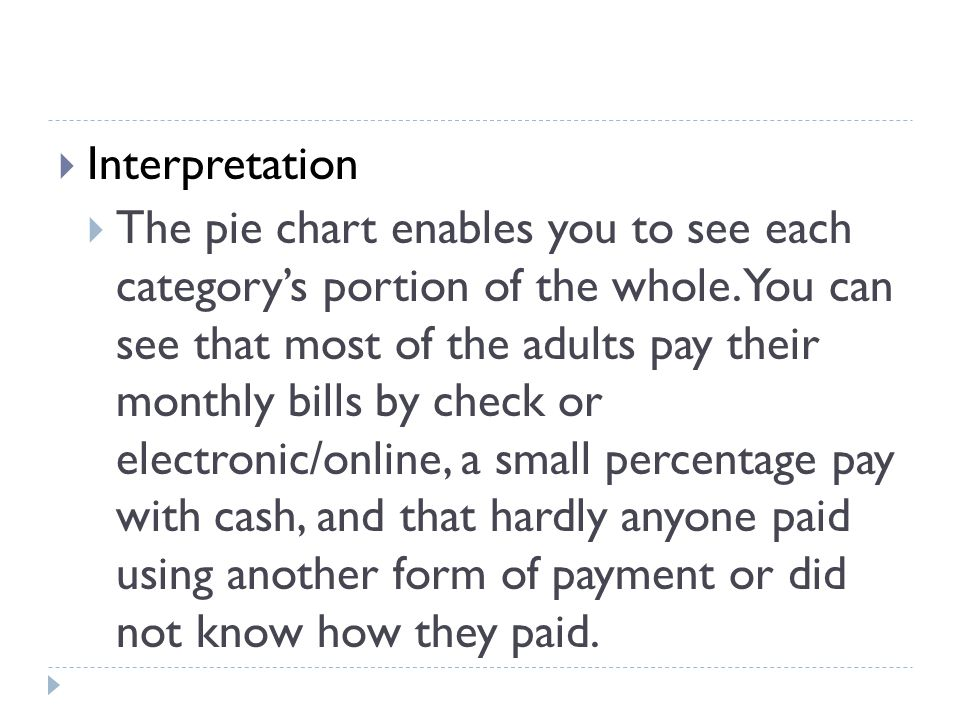  Interpretation  The pie chart enables you to see each category's portion of the whole.