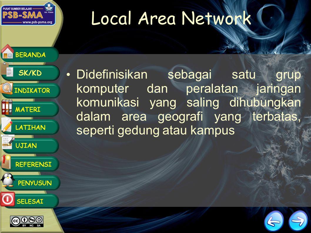 Tipe Jaringan LAN (Local Are Network) MAN (Metropolitan Area Network) WAN (Wide Area Network) GAN (Campus Area Netwok)