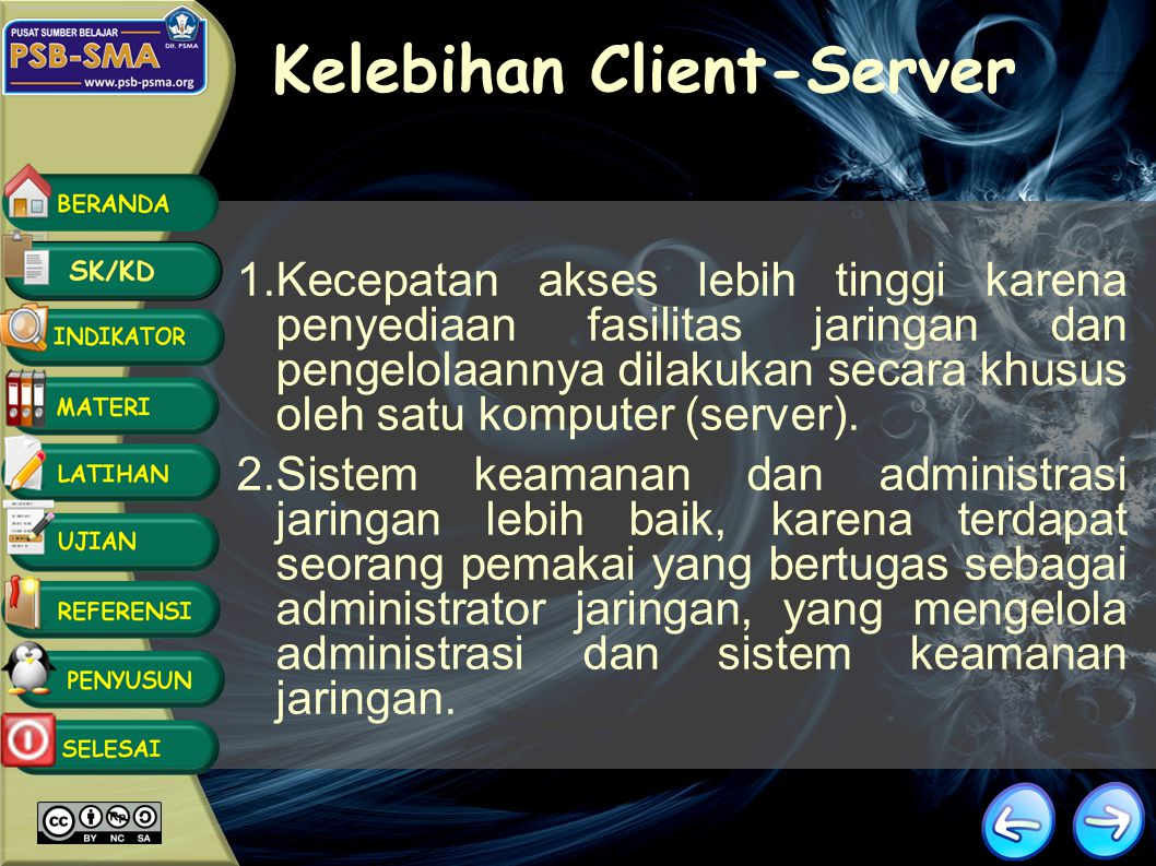 Jaringan Client-Server Server adalah komputer yang menyediakan fasilitas bagi komputer- komputer lain didalam jaringan dan client adalah komputer-komputer yang menerima atau menggunakan fasilitas yang disediakan oleh server.