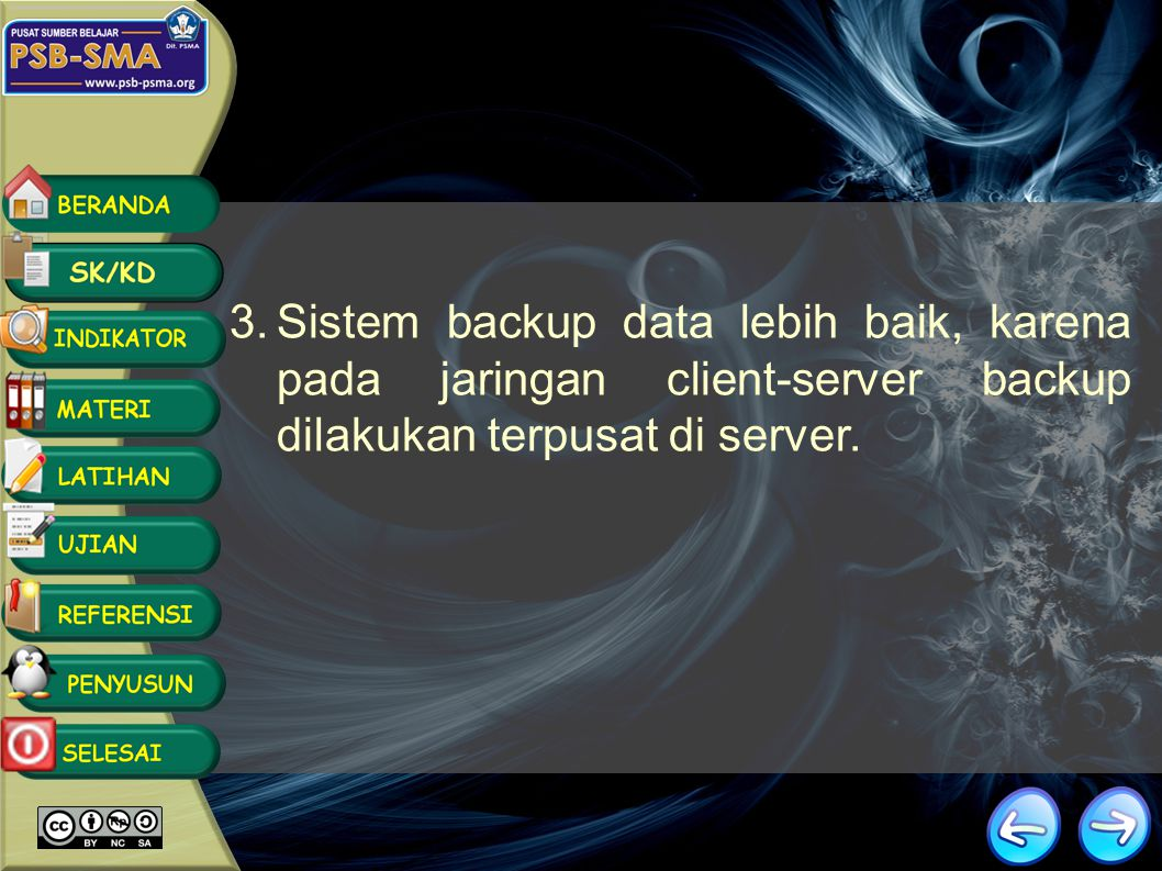 Kelebihan Client-Server 1.Kecepatan akses lebih tinggi karena penyediaan fasilitas jaringan dan pengelolaannya dilakukan secara khusus oleh satu kompu