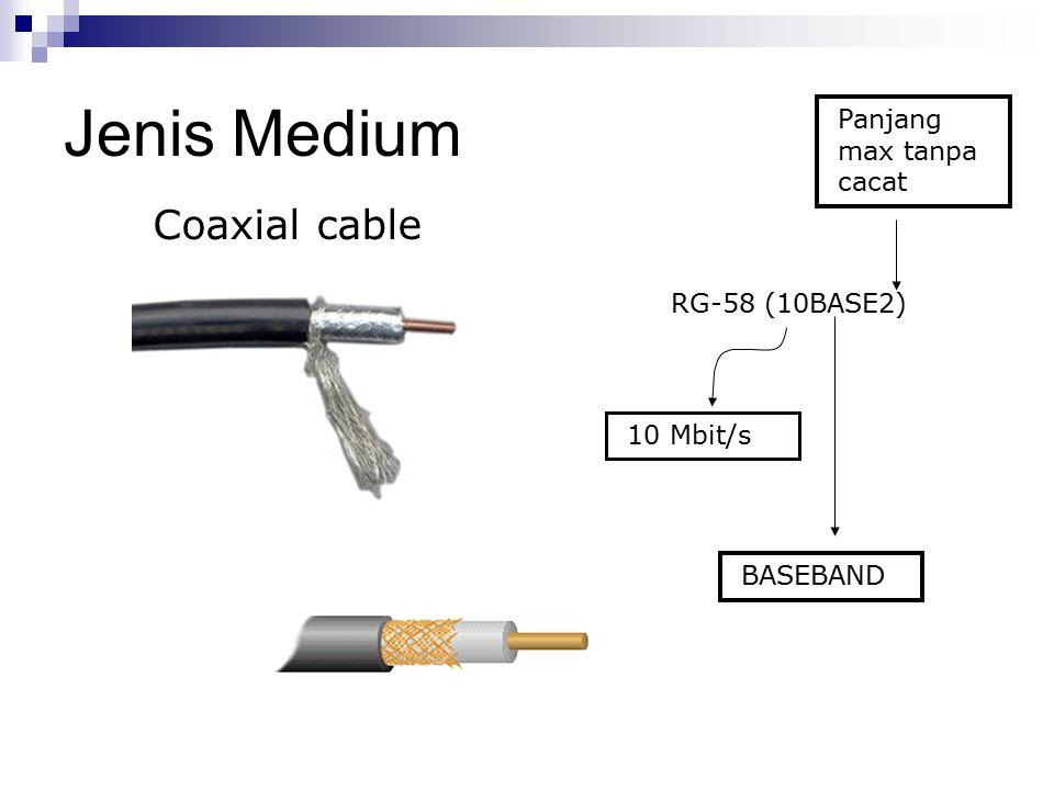 Jenis Medium Coaxial cable RG-58 (10BASE2) BASEBAND Panjang max tanpa cacat 10 Mbit/s