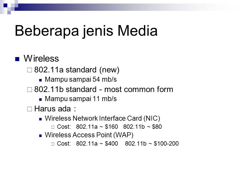 Beberapa jenis Media Wireless  802.11a standard (new) Mampu sampai 54 mb/s  802.11b standard - most common form Mampu sampai 11 mb/s  Harus ada : W