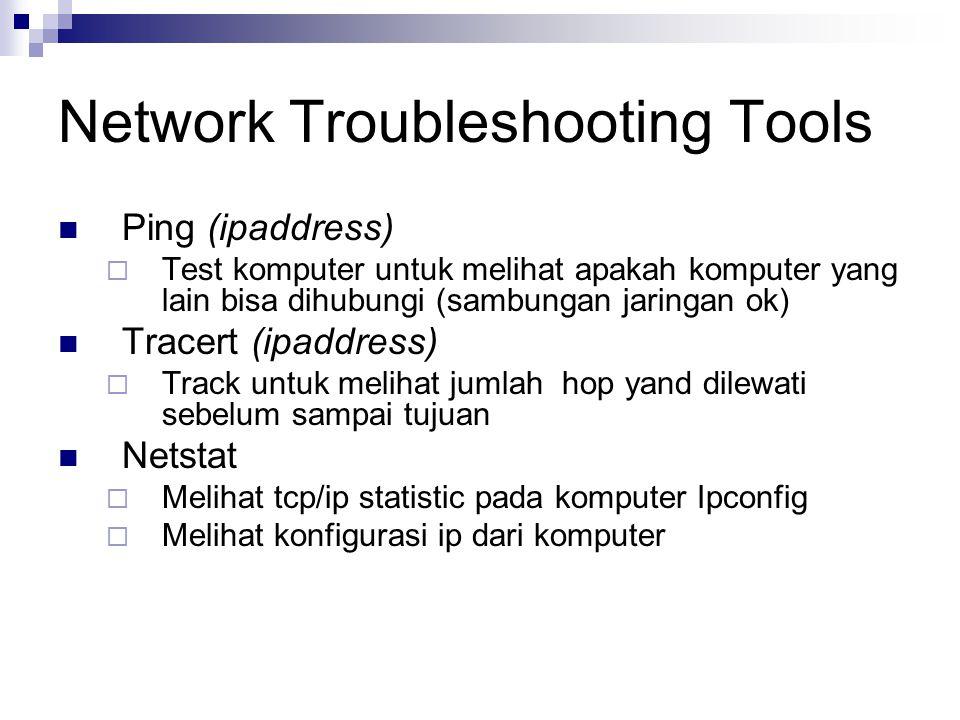 Ping (ipaddress)  Test komputer untuk melihat apakah komputer yang lain bisa dihubungi (sambungan jaringan ok) Tracert (ipaddress)  Track untuk melihat jumlah hop yand dilewati sebelum sampai tujuan Netstat  Melihat tcp/ip statistic pada komputer Ipconfig  Melihat konfigurasi ip dari komputer