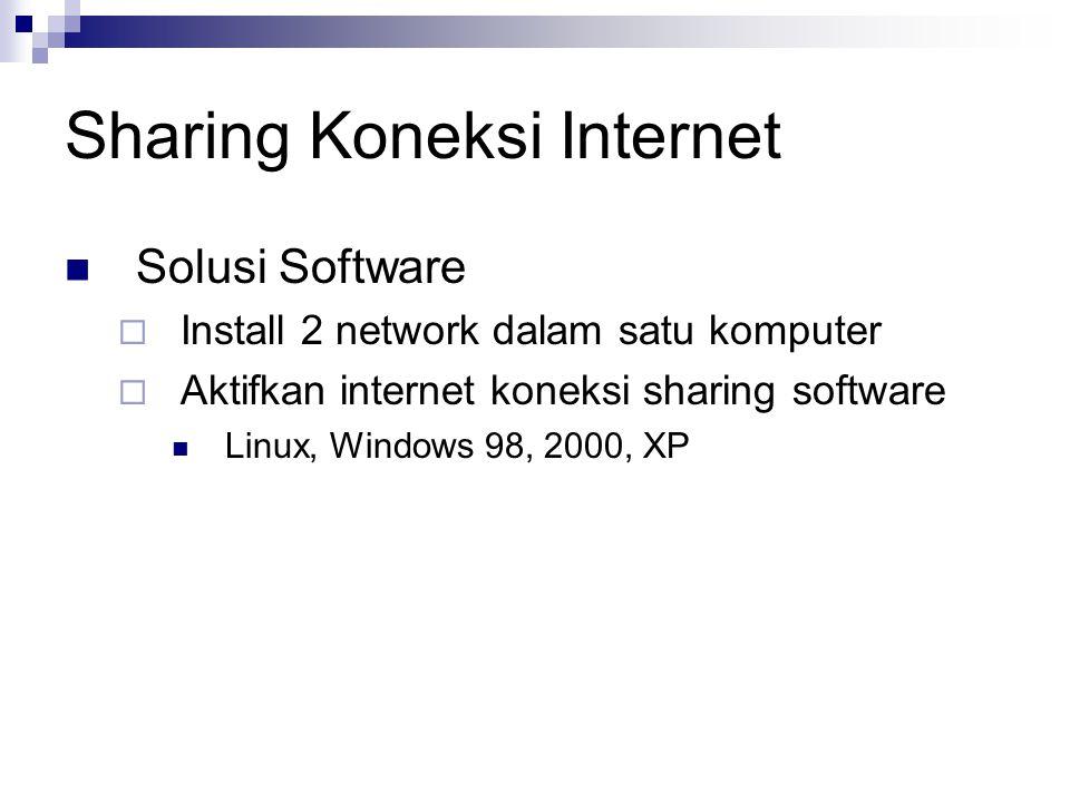 Solusi Software  Install 2 network dalam satu komputer  Aktifkan internet koneksi sharing software Linux, Windows 98, 2000, XP