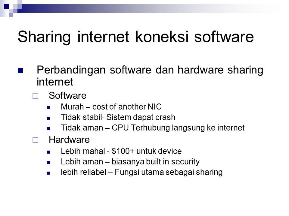 Sharing internet koneksi software Perbandingan software dan hardware sharing internet  Software Murah – cost of another NIC Tidak stabil- Sistem dapa