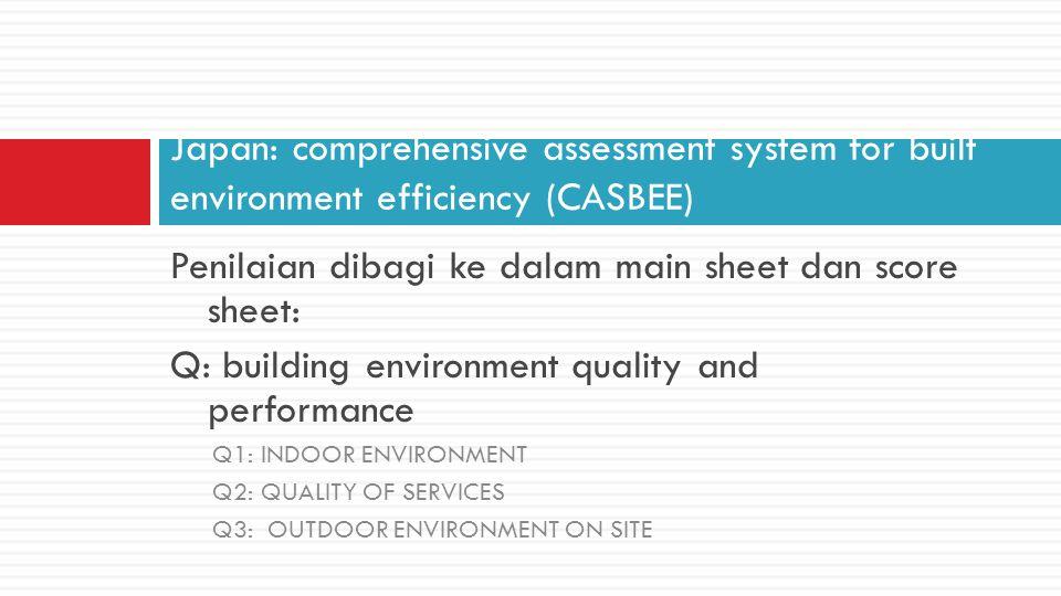 LR: Reduction of Building Environmental Loading LR-1: ENERGY LR-2: RESOURCES AND MATERIALS LR-3: OFFSITE ENVIRONMENT Score menggunakan five level scoring system dengan angka 3 didefinisikan sbg average Bobot total Q adalah SQ= 1 demikian juga SLR