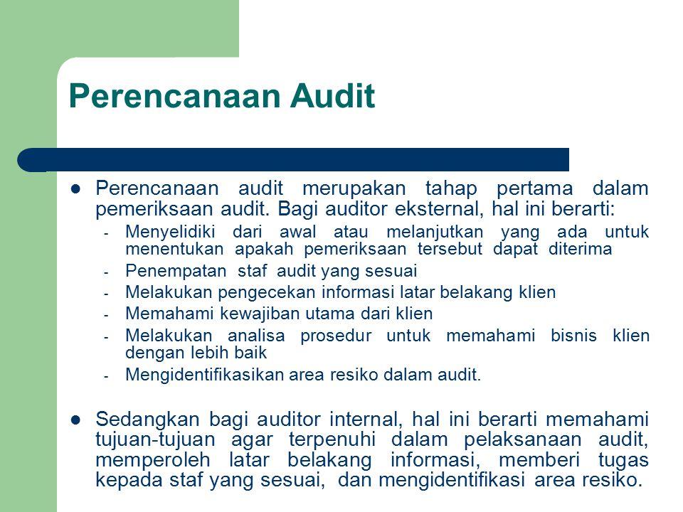 Perencanaan Audit Perencanaan audit merupakan tahap pertama dalam pemeriksaan audit. Bagi auditor eksternal, hal ini berarti: - Menyelidiki dari awal