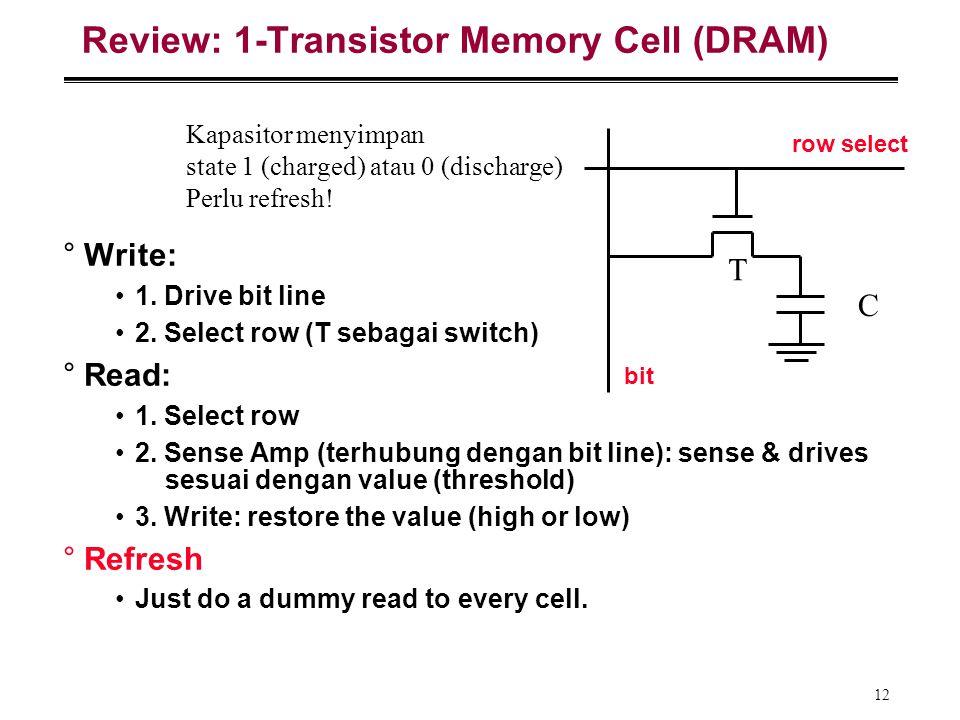 12 Review: 1-Transistor Memory Cell (DRAM) °Write: 1. Drive bit line 2. Select row (T sebagai switch) °Read: 1. Select row 2. Sense Amp (terhubung den