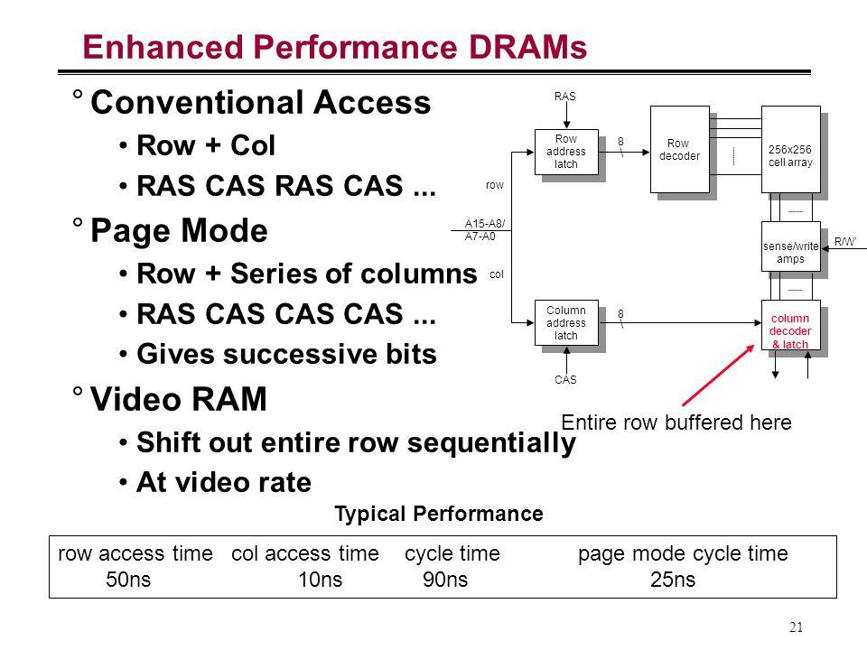 21 Enhanced Performance DRAMs °Conventional Access Row + Col RAS CAS RAS CAS... °Page Mode Row + Series of columns RAS CAS CAS CAS... Gives successive
