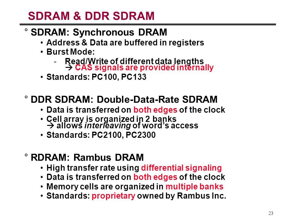 23 SDRAM & DDR SDRAM °SDRAM: Synchronous DRAM Address & Data are buffered in registers Burst Mode: -Read/Write of different data lengths  CAS signals