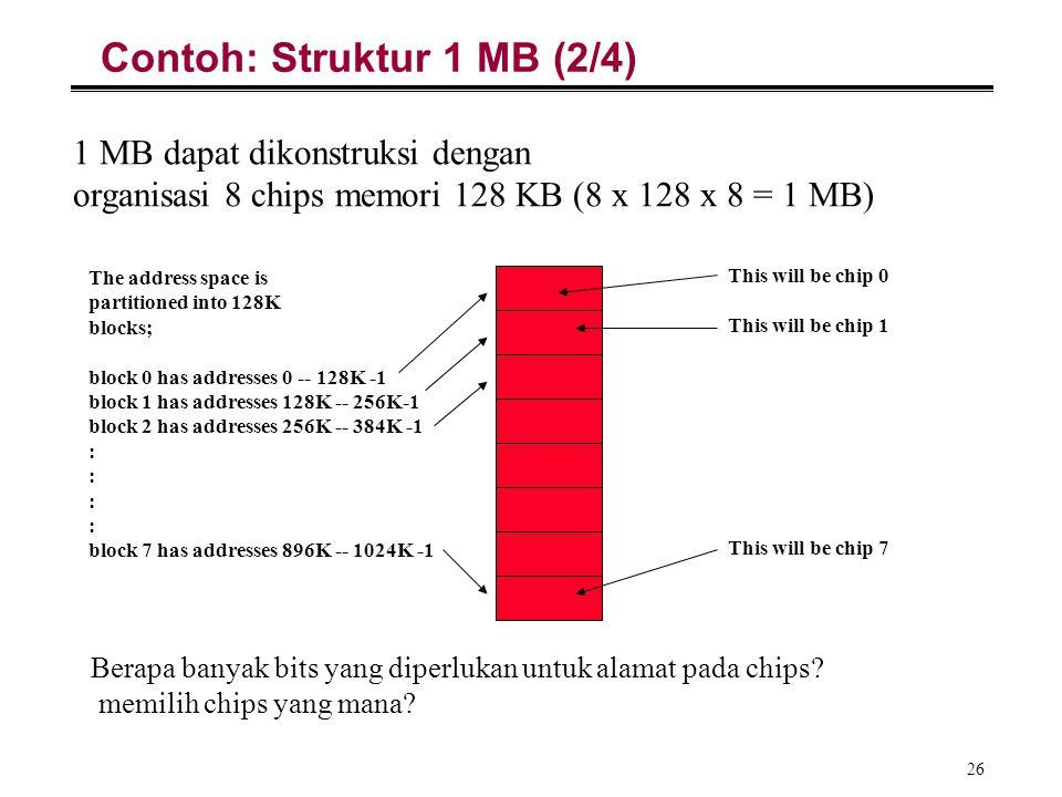 26 Contoh: Struktur 1 MB (2/4) 1 MB dapat dikonstruksi dengan organisasi 8 chips memori 128 KB (8 x 128 x 8 = 1 MB) The address space is partitioned i