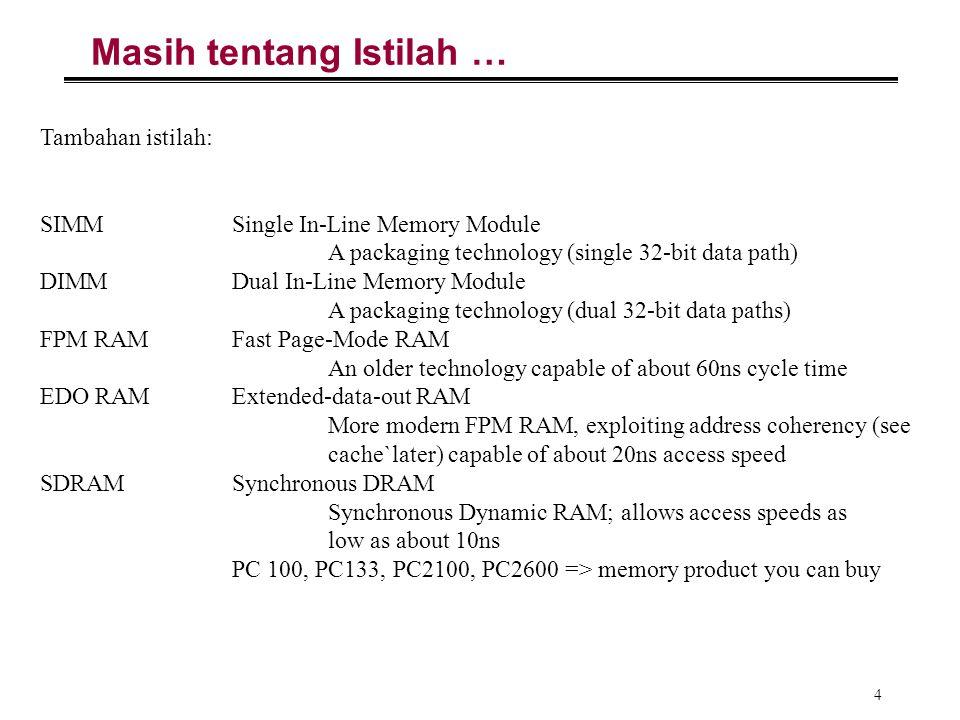 4 Masih tentang Istilah … Tambahan istilah: SIMMSingle In-Line Memory Module A packaging technology (single 32-bit data path) DIMMDual In-Line Memory