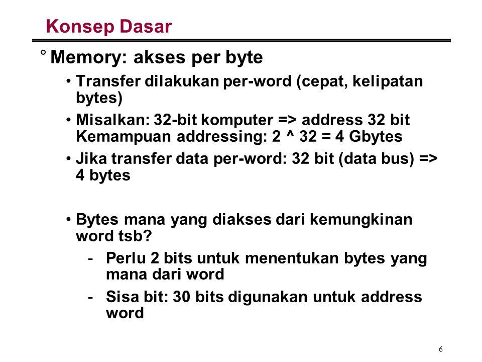 27 Contoh: Pembagian field address (3/4) 1MB membutuhkan alamat sebesar 20 bit, Ide: membagi field address menjadi 2 yakni: bits untuk memilih chips dan address pada field tsb.