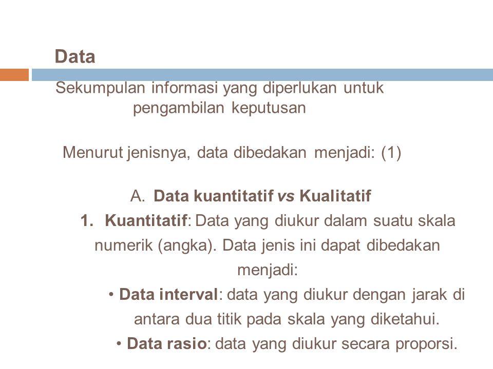 Data Sekumpulan informasi yang diperlukan untuk pengambilan keputusan Menurut jenisnya, data dibedakan menjadi: (1) A. Data kuantitatif vs Kualitatif