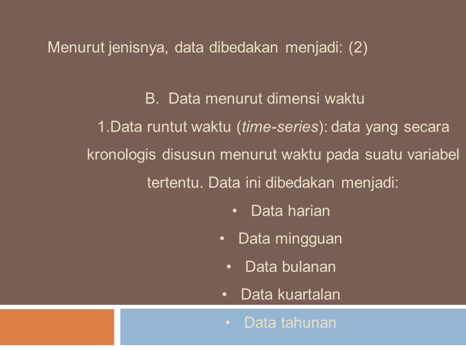 Menurut jenisnya, data dibedakan menjadi: (2) B.Data menurut dimensi waktu 1.Data runtut waktu (time-series): data yang secara kronologis disusun menu
