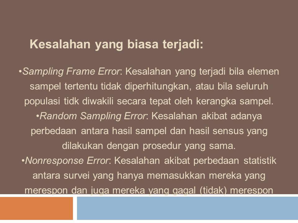 Kesalahan yang biasa terjadi: Sampling Frame Error: Kesalahan yang terjadi bila elemen sampel tertentu tidak diperhitungkan, atau bila seluruh populas