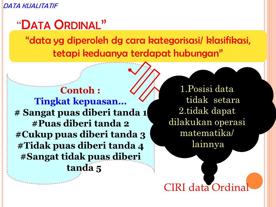 """"""" D ATA O RDINAL """" """"data yg diperoleh dg cara kategorisasi/ klasifikasi, tetapi keduanya terdapat hubungan"""" Contoh : Tingkat kepuasan… # Sangat puas d"""