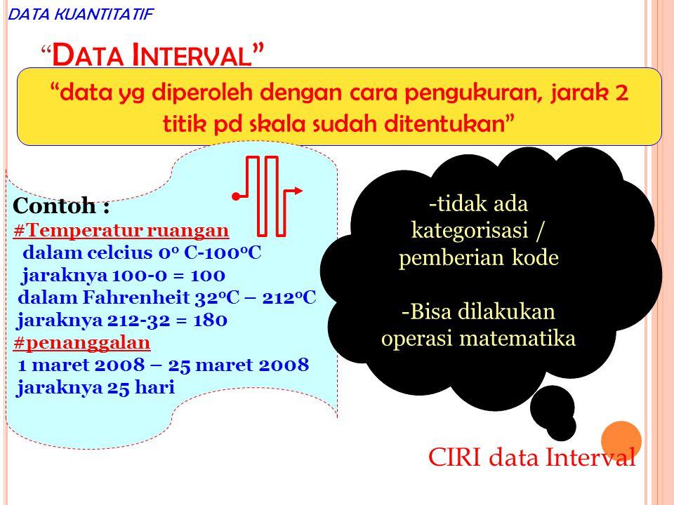 D ATA I NTERVAL data yg diperoleh dengan cara pengukuran, jarak 2 titik pd skala sudah ditentukan Contoh : #Temperatur ruangan dalam celcius 0 o C-100 o C jaraknya 100-0 = 100 dalam Fahrenheit 32 o C – 212 o C jaraknya 212-32 = 180 #penanggalan 1 maret 2008 – 25 maret 2008 jaraknya 25 hari -tidak ada kategorisasi / pemberian kode -Bisa dilakukan operasi matematika CIRI data Interval DATA KUANTITATIF