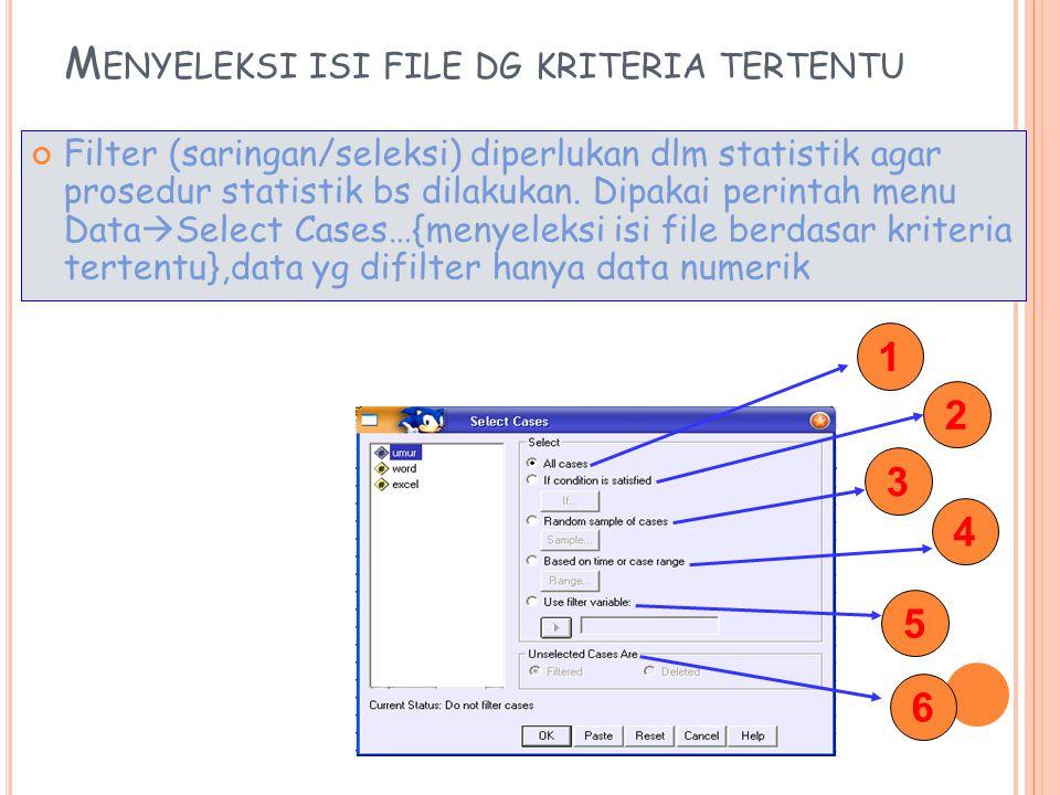 M ENYELEKSI ISI FILE DG KRITERIA TERTENTU Filter (saringan/seleksi) diperlukan dlm statistik agar prosedur statistik bs dilakukan.