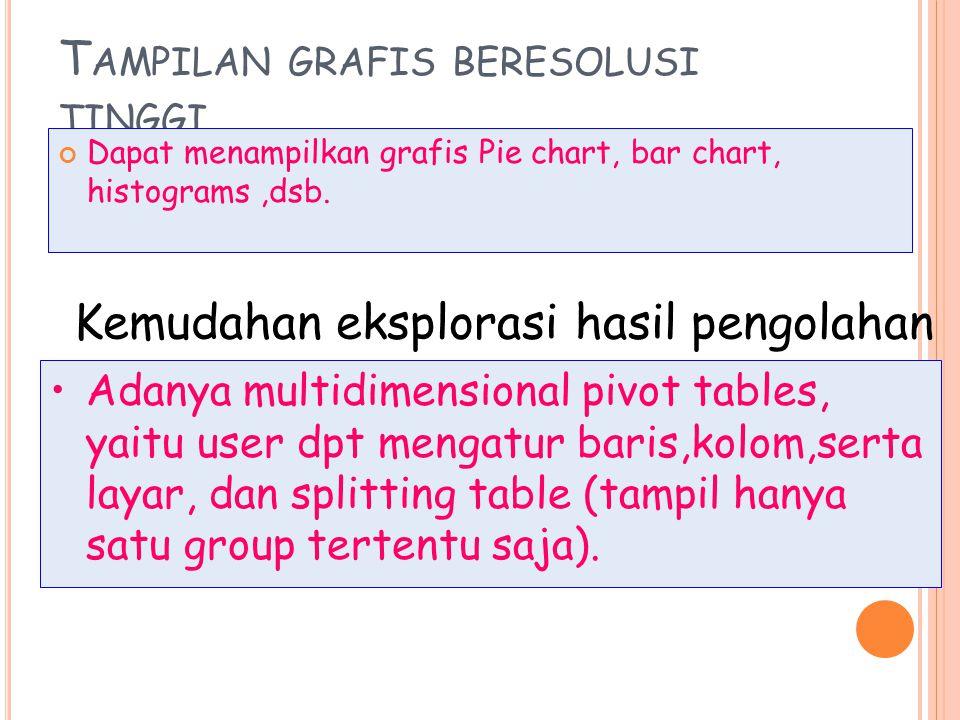 T AMPILAN GRAFIS BERESOLUSI TINGGI Dapat menampilkan grafis Pie chart, bar chart, histograms,dsb.