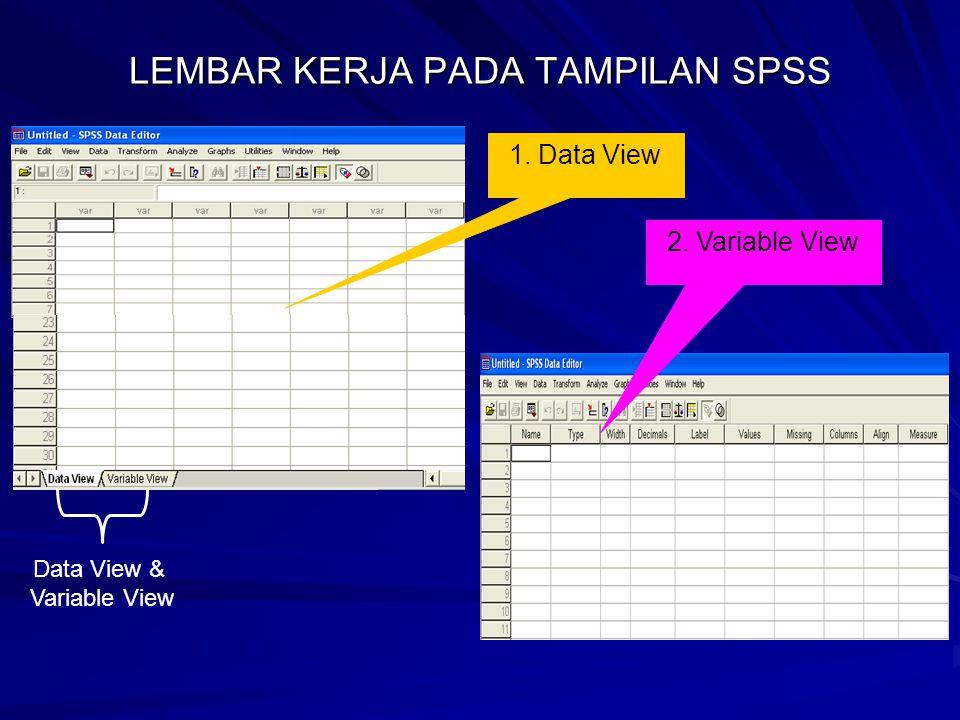 LEMBAR KERJA PADA TAMPILAN SPSS Data View & Variable View 1. Data View 2. Variable View