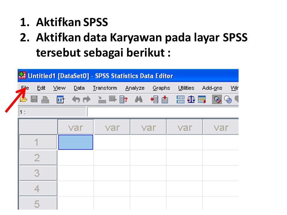 1.Aktifkan SPSS 2.Aktifkan data Karyawan pada layar SPSS tersebut sebagai berikut :