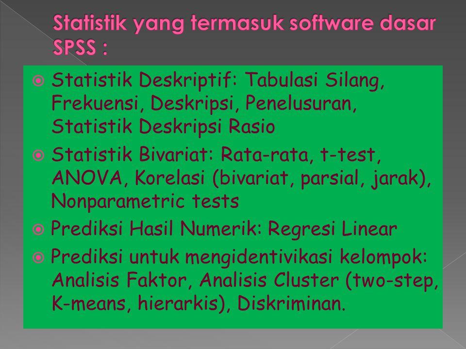  Statistik Deskriptif: Tabulasi Silang, Frekuensi, Deskripsi, Penelusuran, Statistik Deskripsi Rasio  Statistik Bivariat: Rata-rata, t-test, ANOVA, Korelasi (bivariat, parsial, jarak), Nonparametric tests  Prediksi Hasil Numerik: Regresi Linear  Prediksi untuk mengidentivikasi kelompok: Analisis Faktor, Analisis Cluster (two-step, K-means, hierarkis), Diskriminan.