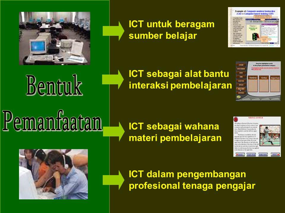 ICT untuk beragam sumber belajar ICT sebagai alat bantu interaksi pembelajaran ICT sebagai wahana materi pembelajaran ICT dalam pengembangan profesion