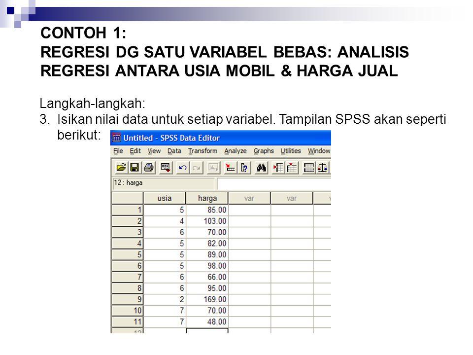 Langkah-langkah: 3.Isikan nilai data untuk setiap variabel.
