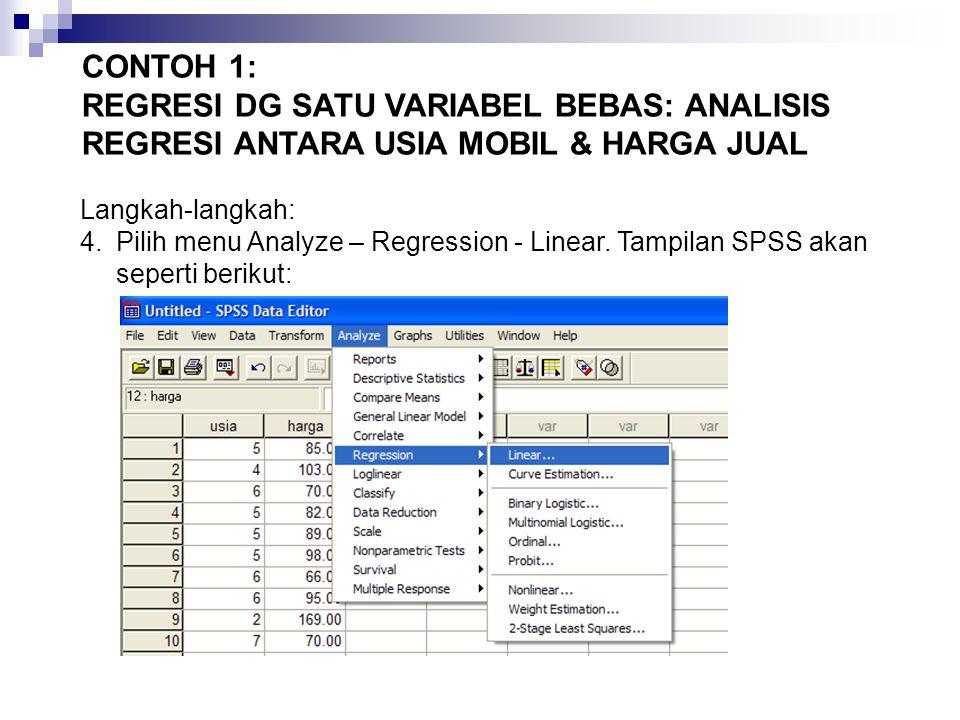 Langkah-langkah: 4.Pilih menu Analyze – Regression - Linear.