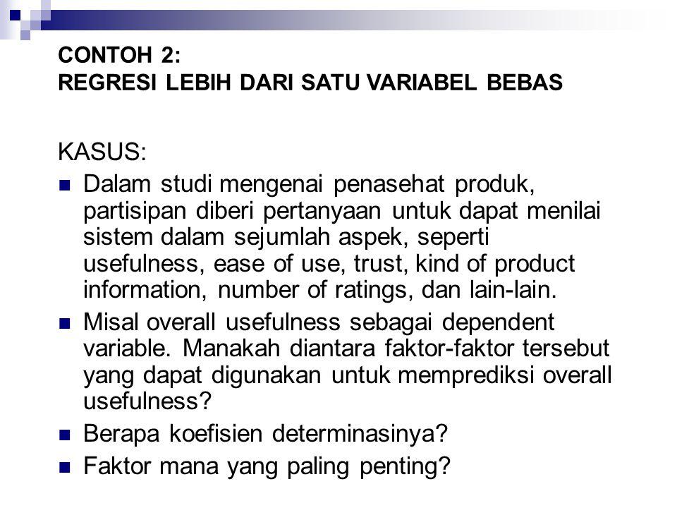 Data Penasehat Produk (Product Advisor) CONTOH 2: REGRESI LEBIH DARI SATU VARIABEL BEBAS