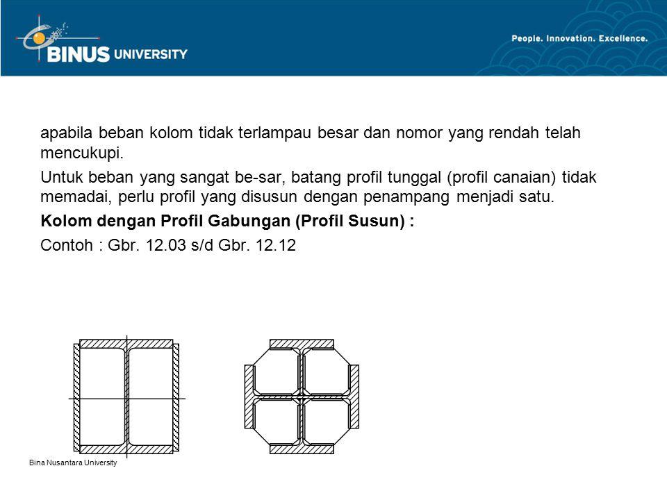 Bina Nusantara University apabila beban kolom tidak terlampau besar dan nomor yang rendah telah mencukupi. Untuk beban yang sangat be-sar, batang prof