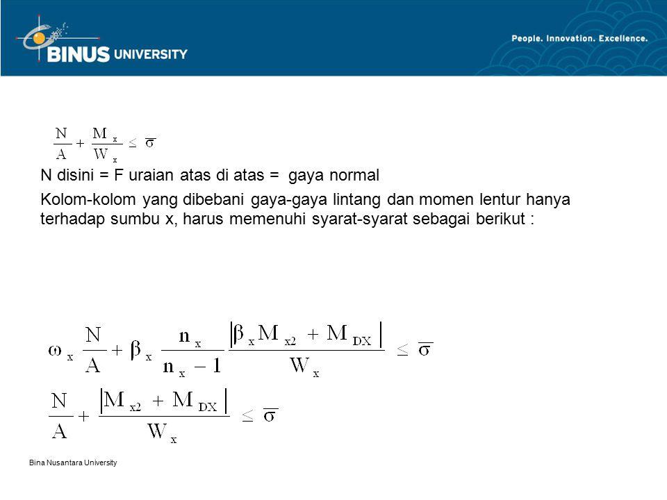 Bina Nusantara University N disini = F uraian atas di atas = gaya normal Kolom-kolom yang dibebani gaya-gaya lintang dan momen lentur hanya terhadap s