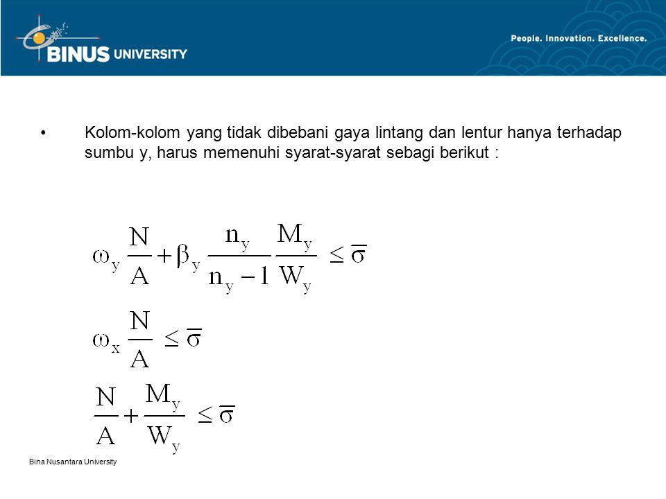 Bina Nusantara University Kolom-kolom yang tidak dibebani gaya lintang dan lentur hanya terhadap sumbu y, harus memenuhi syarat-syarat sebagi berikut