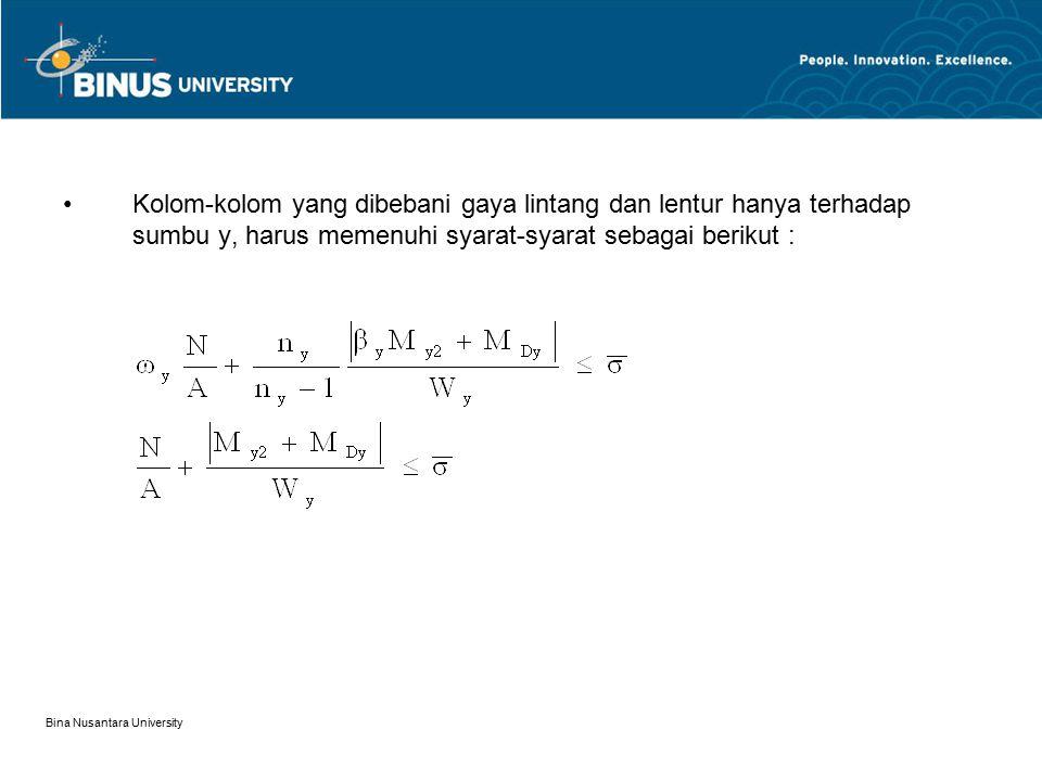 Bina Nusantara University Kolom-kolom yang dibebani gaya lintang dan lentur hanya terhadap sumbu y, harus memenuhi syarat-syarat sebagai berikut :